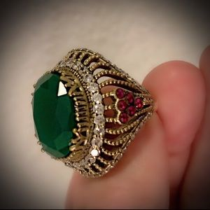 Size 8.5 EMERALD RUBY RING Solid 925 Silver/Gold